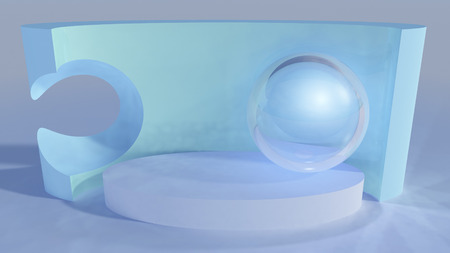 platform: An abstract background stage platform with glass sphere and wall backdrop art sculpture