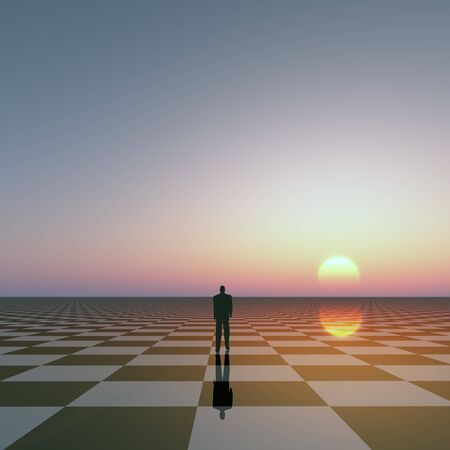 horizons: A businessman on checked horizon under sun and sky. Stock Photo