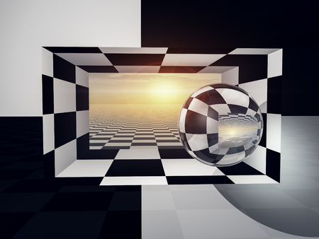 illusions: A checkered wall and entrance open to horizon and sun. Stock Photo
