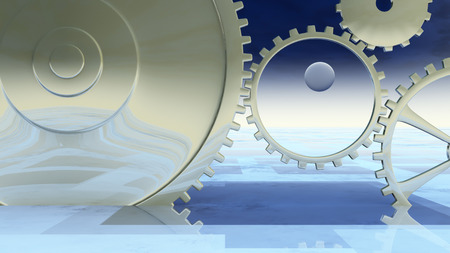 meaning: Giant gears on a blue grid horizon.