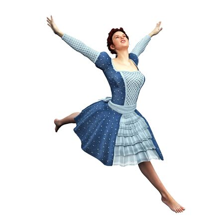 leaping: An isolated young lady leaping with arms raised wearing dress.