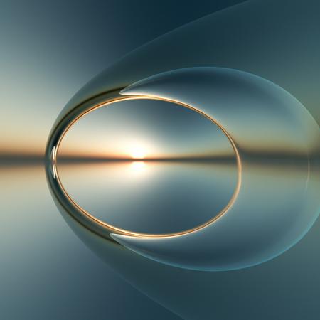 Een toekomstige surrealistische boog over kalme zee en de zonsondergang