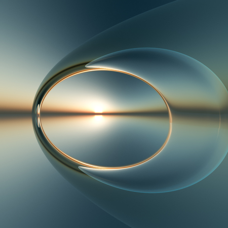 A future surreal arch over calm sea and sunset