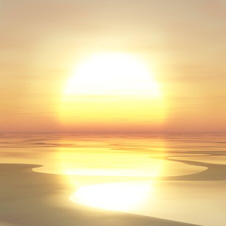 horizons: An illustration of over large sun setting over river.