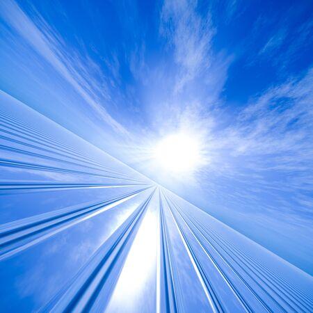vanishing point: Vanishing point grid to a sun horizon.