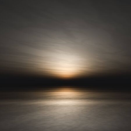 A covered sunset on dark sea background.