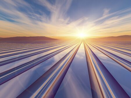 vanishing point: An illustration abstract surreal background with a flash of light sunrise over a metal grid to a vanishing point.