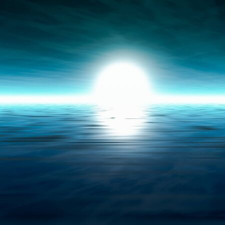 sea horizon: A background misty sea horizon with a blue cloudy sky, 3D rendering. Stock Photo