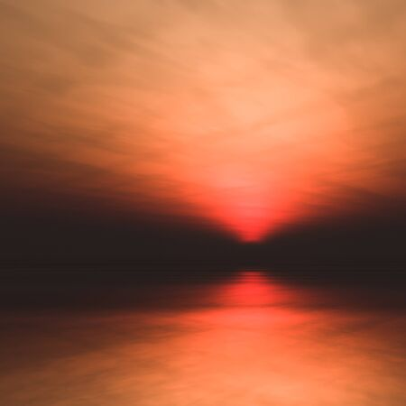 sea horizon: A background misty sea with sun low in a dark, foggy and hazy horizon 3d illustration. Stock Photo