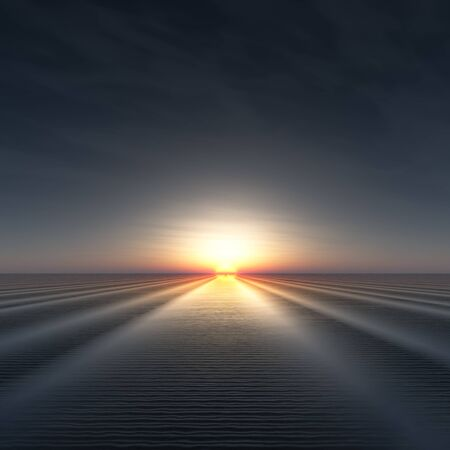 rippled: A background with sun on edge of horizon over rippled water 3d illustration.