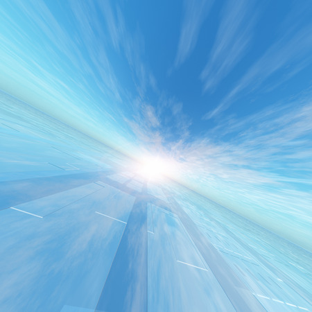 horizons: A background with technology lne array horizon and a surreal blue sky, 3D rendering.