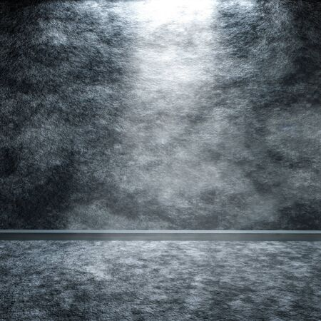 white wall: A grey granite floor and wall background with center light, 3D rendering. Stock Photo