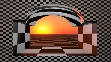 An abstract background with checkered window facing sunset, 3d illustration. Stock Photo