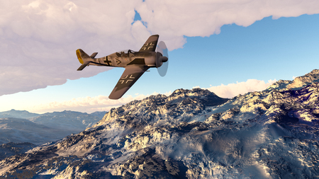 3D Illustration of a FW190 Focke Wulf WWII fighter airplane.
