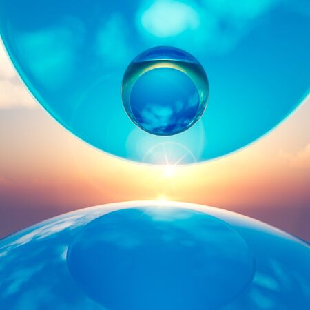 An abstract background floating crystal balls amid horizon sun, 3d illustration. Stock Photo