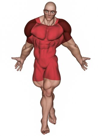 An isolated bald super hero in red tights, 3D illustration. Stock Photo