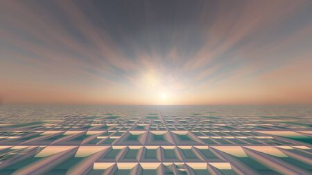 tiefe: A background gird horizon with pink misty sunrise, 3d illustration. Lizenzfreie Bilder