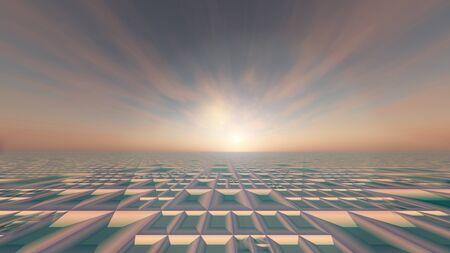 tiefe: Ein Hintergrund Gürtel Horizont mit rosa nebligen Sonnenaufgang, 3d illustration.