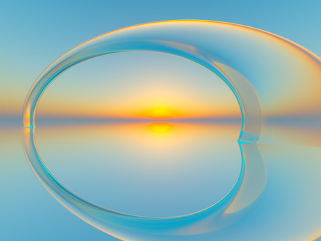An abstract background crystal arch in water over horizon sun, 3d illustration.