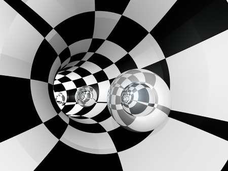 illusions: A tunnel with a series of glass spheres, 3D illustration.