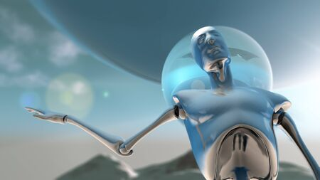 A silver robot against a planetoid background in position of asking a question, 3D illustration.