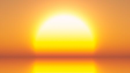 A background with bright yellow big sun on edge of horizon over water, 3D rendering.