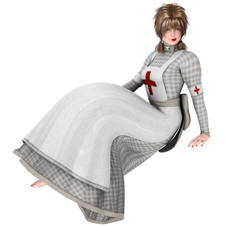 nursing uniforms: An isolated bygone era Victorian nurse in sitting position, 3D illustration. Stock Photo
