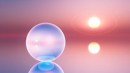 vanishing point: an abstract background crystal ball on horizon sun, 3d illustration. Stock Photo