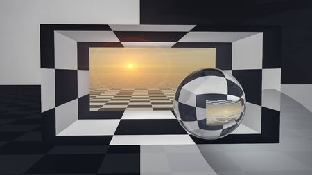 An abstract background with crystal ball on checkered hall sunset, 3d illustration. Stock Photo