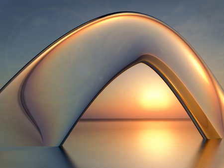 An abstract background glass arch in sea over sunset, 3d illustration.