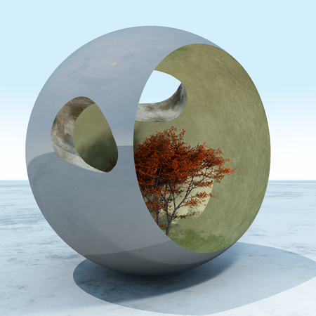 A fall maple tree in a surreal cement art sculpture sphere, 3d Illustration.