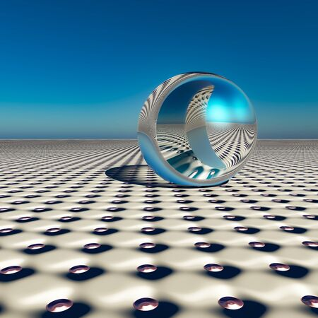 A dimple pattern horizon with an abstract surreal chrome sphere of the future,  3d Illustration. Stock Photo