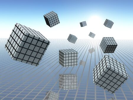 Grid plane on horizon sky with abstract cube graphs in motion, 3d Illustration.