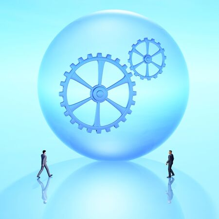Giant future crystal ball with gears and business people coming together, 3D Illustration.
