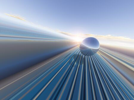 An abstract future horizon grid background with sphere, 3D Illustration.