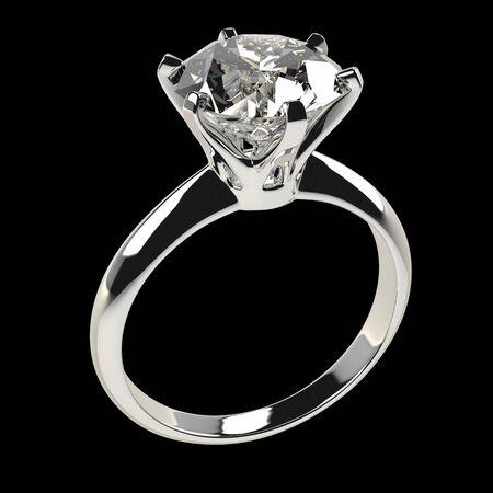 Geïsoleerde diamanten ring tegen zwart, 3D illustratie.