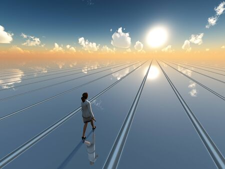 A business woman walking toward future sun on surreal grid plane horizon, 3d Illustration.