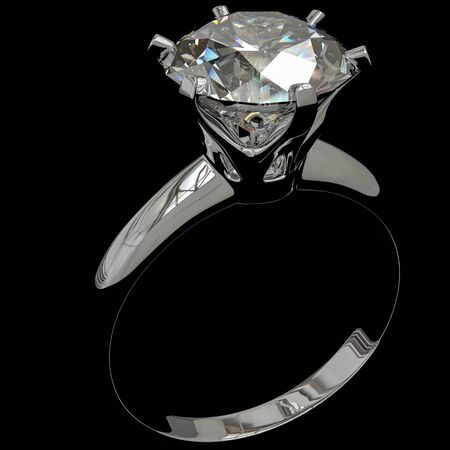 A diamond ring against a black background, 3d Illustration. Stock Photo