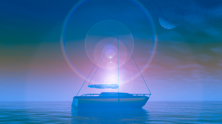 A surreal future crystal boat on lake against an early sunrise, 3d Illustration.