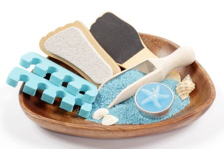 stone bowl: marine pedicure set on wooden plate