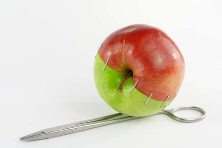 Two halves of an apple Stock Photo