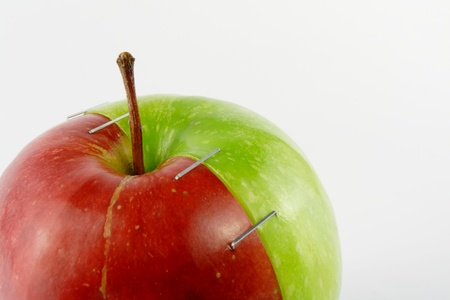apple gmo: Two halves of an apple Stock Photo