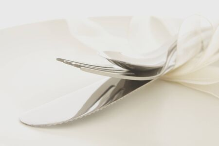 cutlery on a plate photo