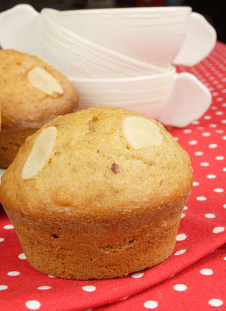 almond muffins and stack of cups Stock Photo - 11997702