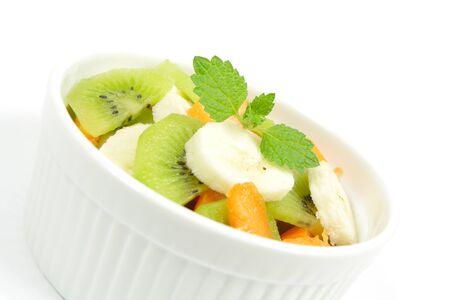 fruity salad: fruity salad in white bowl Stock Photo