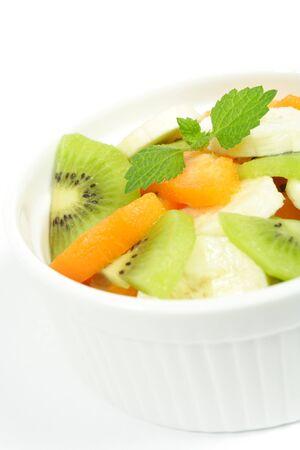 banana, kiwi and peach salad photo