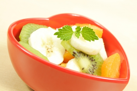 fruity salad: red heart and fruity salad