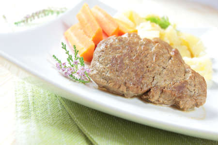 dinner with pork cutlets, potatoes and carrots Stock Photo - 17967527