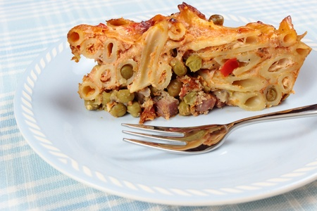 portion of pasta casserole photo