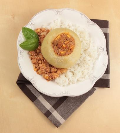 dinner with stuffed kohlrabi Stock Photo